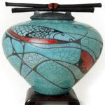 Dynamic Cubism DC Series of raku urns for ashes by Dodero Studio Ceramics dynamic cubism series in aqua